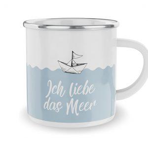 Emaille Becher-Ich liebe das Meer