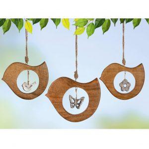 Mangoholz Hänger Vogel 15cm