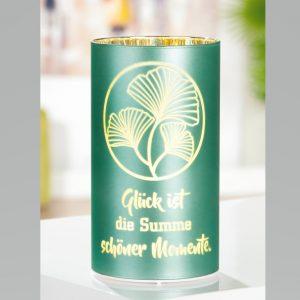 Glasschirm mit LED Ginkgo dunkelgrün