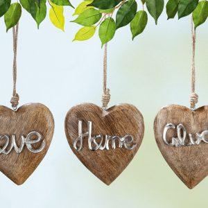 Mangoholz Herz Love/Home/Glück