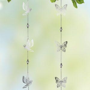 Edelstahl Girlande Vogel und Schmetterling