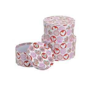 3er Set Geschenkboxen mit Herzmotiv