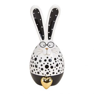Hase black and white mit Brille