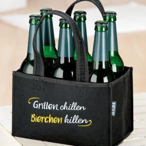 """6 Pack Tasche aus Filz """"Grillen, chillen…"""""""