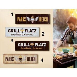 Metallschild Grillplatz/Papas Reich